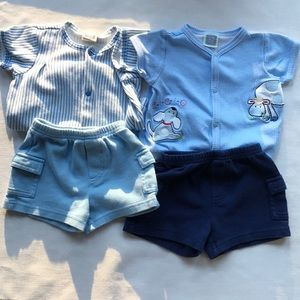 Little me mix and match shorts and onesies. 3 mo